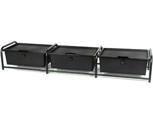 🔴Metal Frame Underbed Storage with Lids Black 3-Drawer