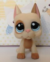 Littlest Pet Shop Great Dane Dog Tan Cream Pink Ear Blue Eyes Brown Patches 1647