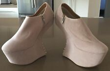 New CORE COLLECTION Spike Studded Heel-Less Beige Suede PU Wedge Booties Size 6