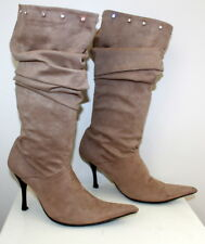 Unknown label pointy beige boots women Eur 40 US-Aus 9 UK 7 USED from Italy