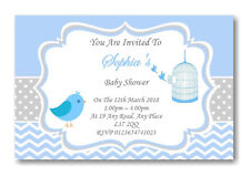 40 Personalised Baby Shower Invitations / Invites With Envelopes Blue grey