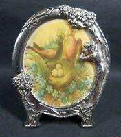 Vintage Art Nouveau Style Metal Picture Frame Pewter Nude Lady Woman 3x3.75 inch