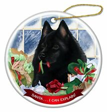 Schipperke Dog Porcelain Hanging Ornament Pet Gift 'Santa. I Can Explain!'