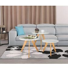 3 in 1 Round Coffee Table Living Room Side Tables Home Magazines Matt Desk Set