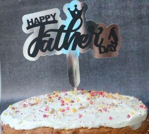 Happy Fathers Day Cake Topper Fathers Day Handmade Silver Mirror Card