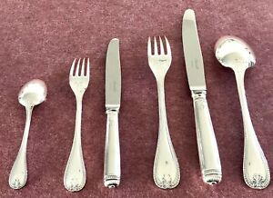 CHRISTOFLE MALMAISON SILVERPLATED FLATWARE SET 36 PCS FOR 6 PEOPLE ORIG PAOCH