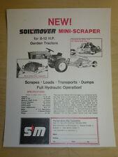 VINTAGE SOIL MOVER MINI-SCRAPER SPEC SHEET, for GARDEN TRACTORS