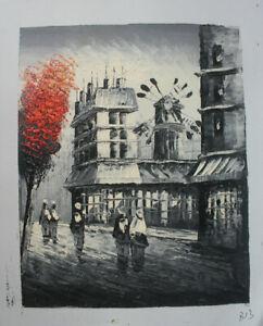 Paris Street Moulin rouge Hand Painted Landscape Oil Painting Wall Art Decor B13