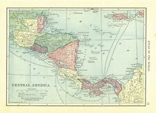 1911 Handy Atlas Vintage Map Pages - South America on one side and Central Am.
