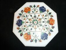 Marble White Stone Coffee Table Top Floral Design Marquetry Mosaic Inlaid H4729