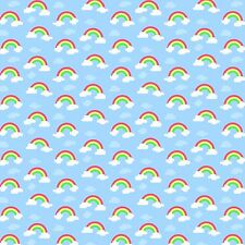 Printed Bow Fabric A4 Canvas Rainbows and Cloud Blue Sky U9 Make glitter bows