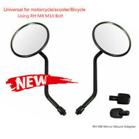 1 Pair Universal Motorcycle Side Rearview Side View Mirror M10 M8 Black