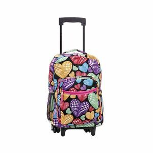Rockland Double Handle Rolling Backpack 17-Inch New Heart