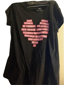 JUSTICE GIRLS SIZE 18/20 PLUS SIZE SHORT SLEEVE TEE SHIRT BLACK GLITTER W/HEART