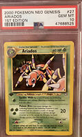 GEM MINT 2000 Pokemon 1st Edition Neo Genesis ARIADOS PSA 10 Non Holo Base