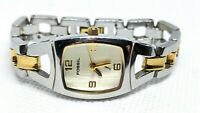 """Fossil F2 ES-9889 Silver Gold All stainless steel women's watch 6.25"""" band"""