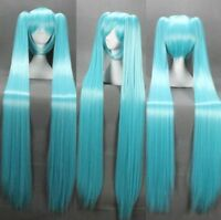 Vocaloid Hatsune Miku + 2 Ponytails Blue Cosplay Anime Long Wig 120cm  gift