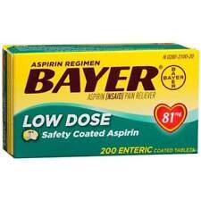 Bayer Aspirin Regimen Low Dose 81mg Enteric Coated Tablets 200 Count