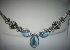 """Bali Styled 19"""" Sterling Silver Blue Stones Fox Tail Weave Statement Necklace"""
