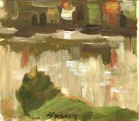 """Russischer Realist Expressionist Öl Pappe """"Fluss"""" 15 x 13 cm"""