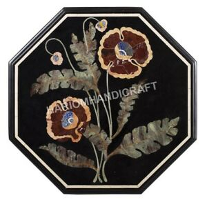 """24"""" Black Marble Coffee Top Table Scagliola Marquetry Floral Inlay Art Dec H945A"""