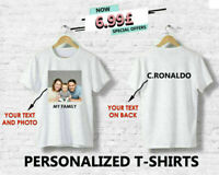 Personalised T Shirt Printed Photo Print Your Image Crew Neck Men Summer Top