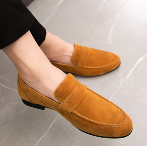 British Mens Loafers Slip on New Suede Fashion Comfy Moccasin Driving Shoes 44