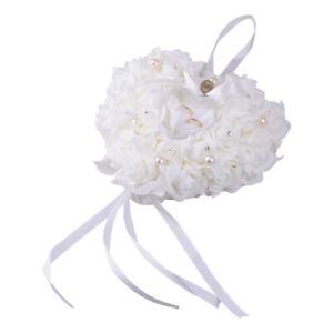 Wedding White Ceremony Satin Crystal Flower Rings Bearer Pillow Cushion Decor sp