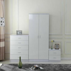 High Gloss 3 Trio Wardrobe Set Drawers Bedroom Furniture Chest Bedside