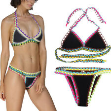 2017 2PC Black Multicolor Crotchet Padded Swimsuit Bikini Neoprene Swimwear M-2X
