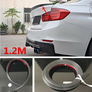1.2M Carbon Fiber Soft Car Rear Roof Trunk Spoiler Rear Wing Lip Trim Sticker