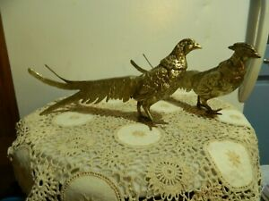 Brass 12 inch Handcrafted Pheasant Pair