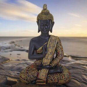 Buddha Statue sitzend in schwarz/ gold Höhe 15cm Feng Shui Figur