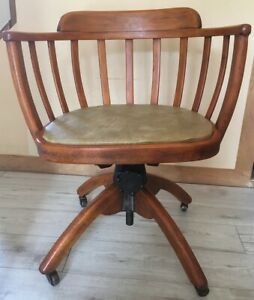 Vintage oak swivel tilt captains chair / desk chair by William Angus of Menstrie