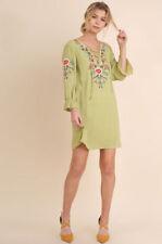 Vestiti da donna verde in misto cotone con scollo a v