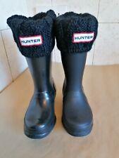 Hunter Original Niños Negro Botas De Agua Y Calcetines Talla 10 Eu28