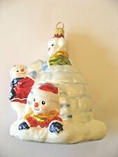 Vintage Snowman Children Building an Igloo Glass Christmas Ornament