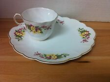ROSINA QUEENS England Bone China WILD FLOWERS Primrose - Snack Plate & Cup Set