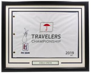 Jordan Spieth Signed Framed Travelers Golf Flag BAS H19915