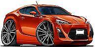 2013-2018 Scion FR-S Toyota 86 Orange Metallic Cartoon t-shirt FRS sizes S-3XL