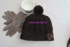 Crochet  HAT Pom Pom brown ribbed Fashion Missy Women Style Handmade Button A20