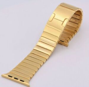 Authentic 24K Gold 42MM 44MM DIAMOMD Polished Link Band for Apple Watch Custom