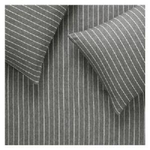Habitat Flannel Charcoal Cotton Stripe Bedding Set Double Bed Quilt Duvet Cover