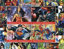 Madagascar 2018 CTO Superheroes Superman Spiderman Batman 4v M/S Comics Stamps
