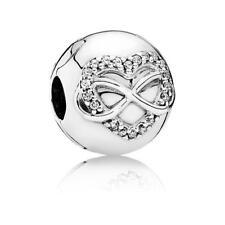Original Pandora Charm Unendliche Herzen Clip Stopper Sterling Silber 791947CZ