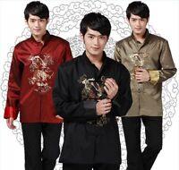 Chinese Traditional Coat Men Silk Satin Jacket Size M-3XL
