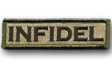 infidel Morale Tactical Patch Multitan 3.75 inch HOOK PATCH BY MILTACUSA
