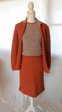 Vintage 60s Featherknits Pencil Skirt Outfit Set Top Jacket Acrylic S / M