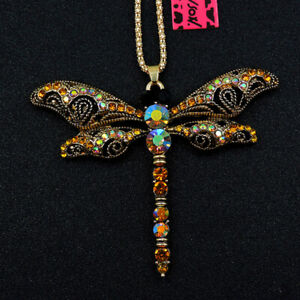 Gold Crystal Enamel Dragonfly Insect Pendant Betsey Johnson Long Necklace