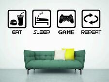 EAT SLEEP PLAY BOYS BEDROOM WALL ART GAMER PS4 GAMING WALL ART DECOR RETRO